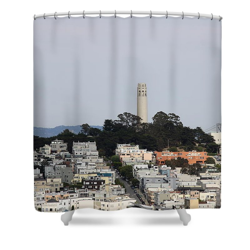 Coit Tower Shower Curtain featuring the photograph Streets Of San Francisco With Coit Tower by Christiane Schulze Art And Photography