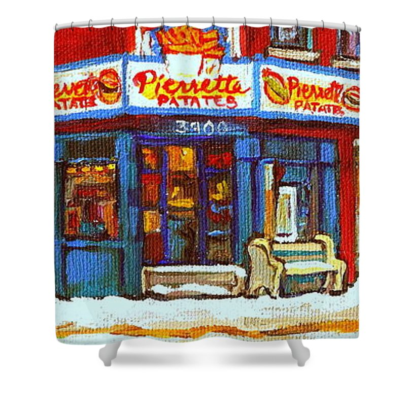 Verdun Shower Curtain featuring the painting Streets Of Verdun Hockey Game At Famous Verdun Restaurant Pierrette Patates Montreal Hockey Art by Carole Spandau