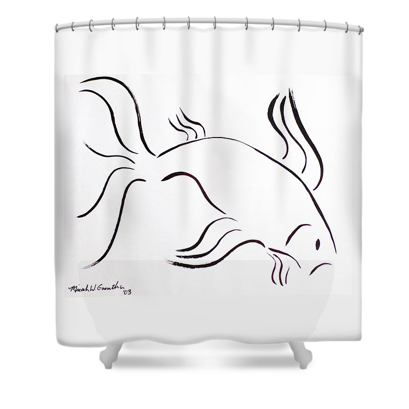Abstract Shower Curtain featuring the drawing Strength by Micah Guenther