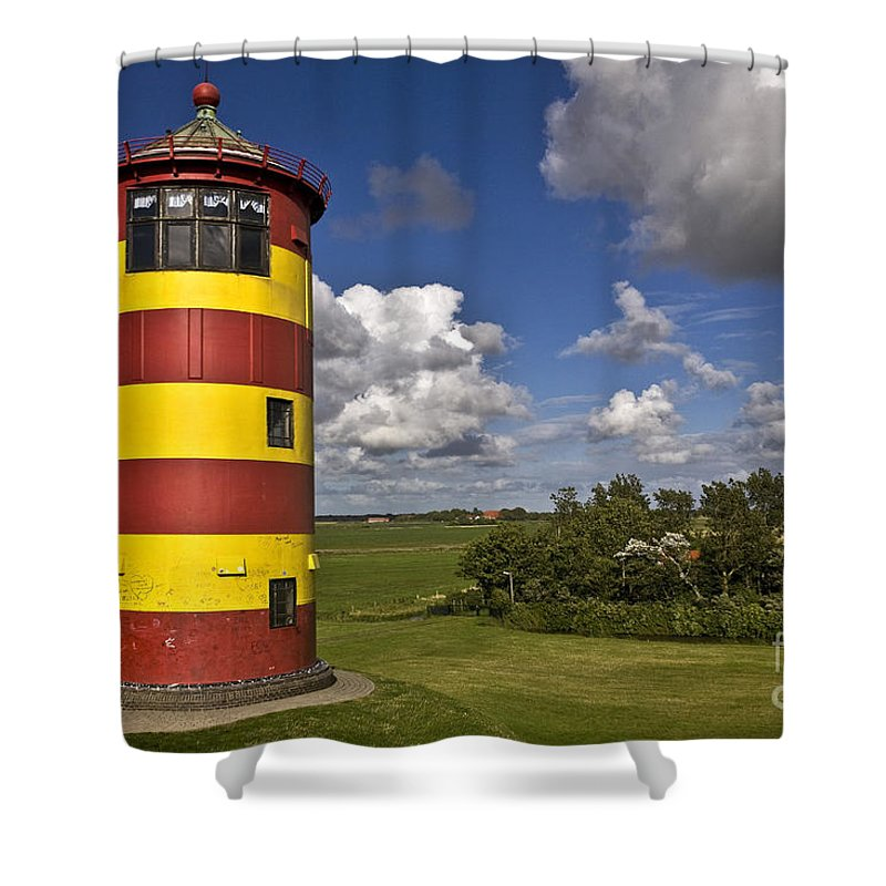 Heiko Shower Curtain featuring the photograph Striped Lighthouse by Heiko Koehrer-Wagner