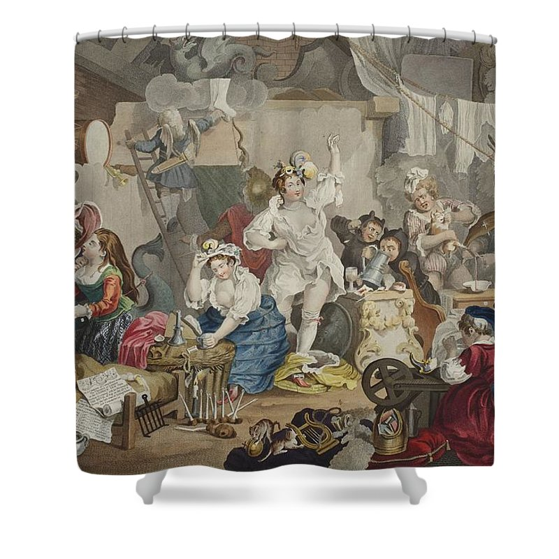 Diana Shower Curtain Featuring The Drawing Strolling Actresses Dressing In A Barn By William Hogarth