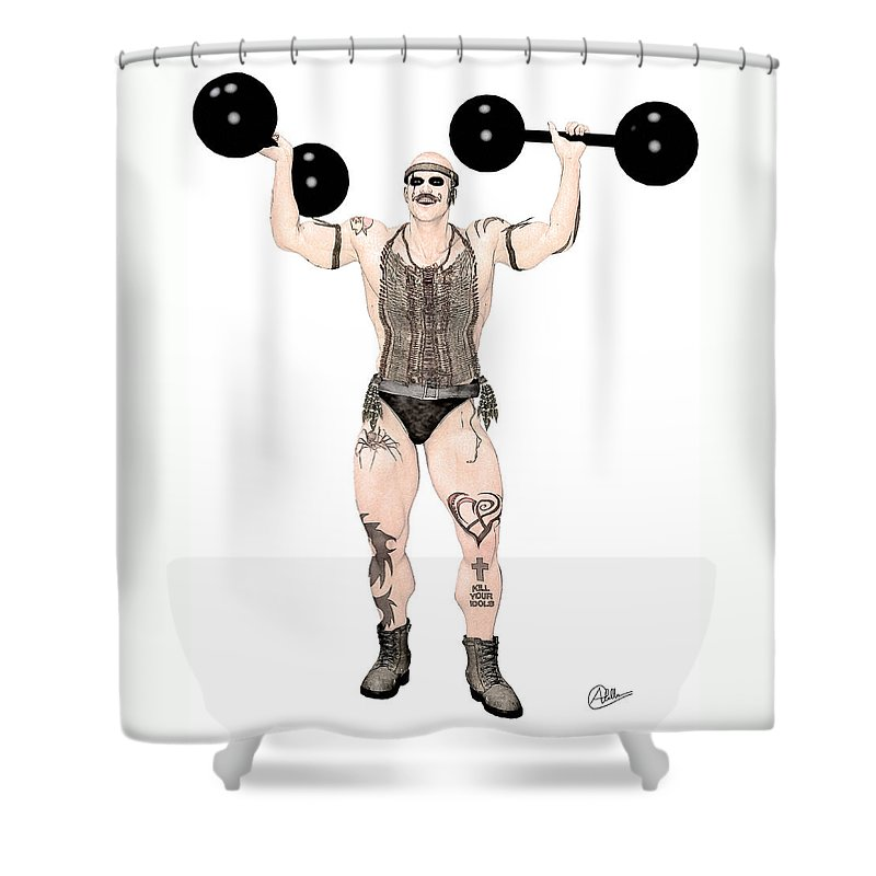 Circus Shower Curtain featuring the painting Strongest Man Native by Quim Abella