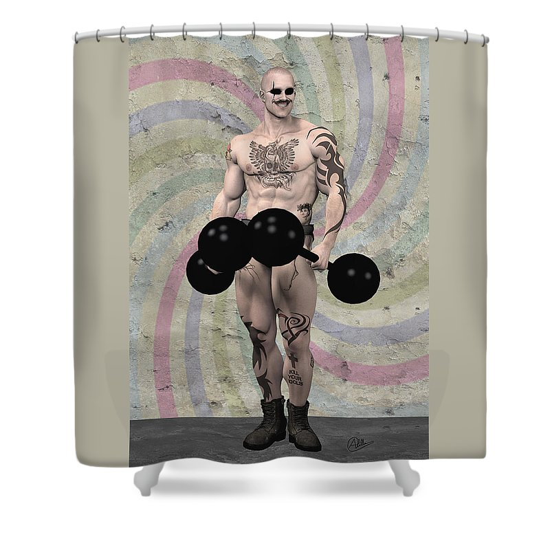 Circus Shower Curtain featuring the painting Strongest Man Skinhead by Quim Abella