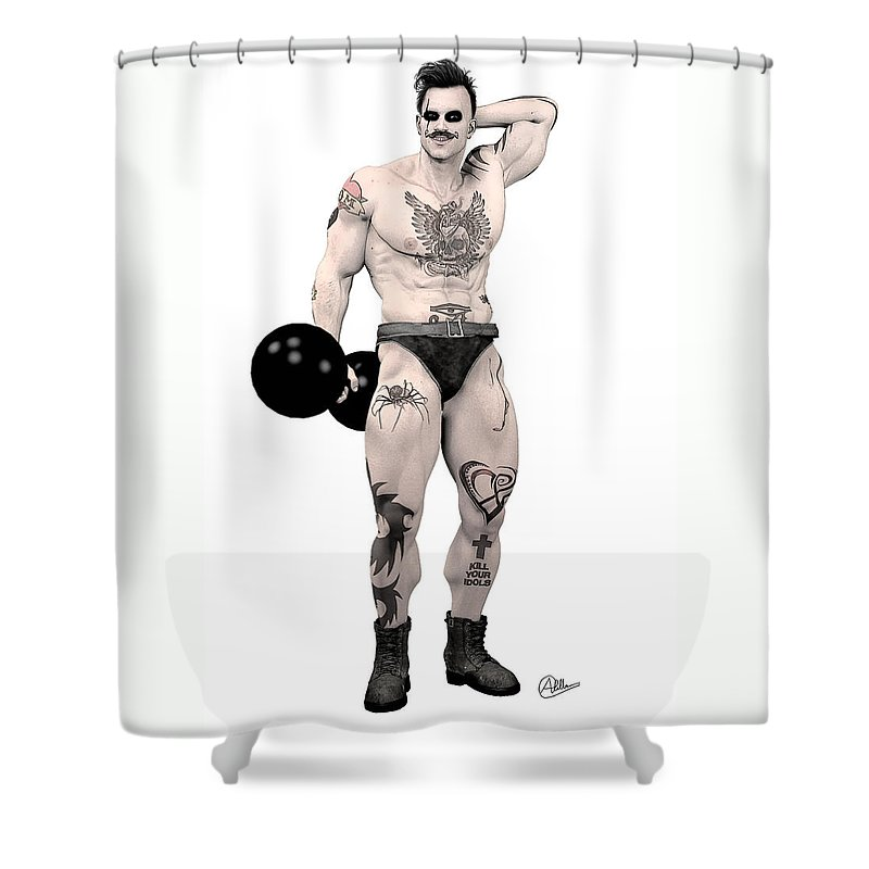 Hipster Shower Curtain featuring the digital art Circus Strongman by Quim Abella