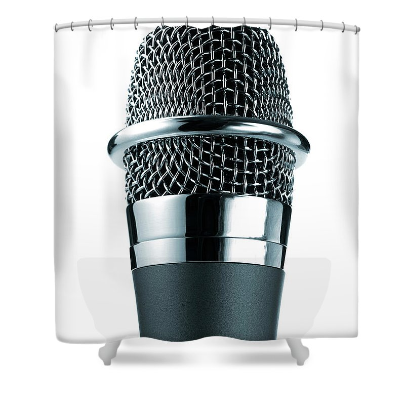 White Background Shower Curtain featuring the photograph Studio Shot Of Microphone On White by David Arky