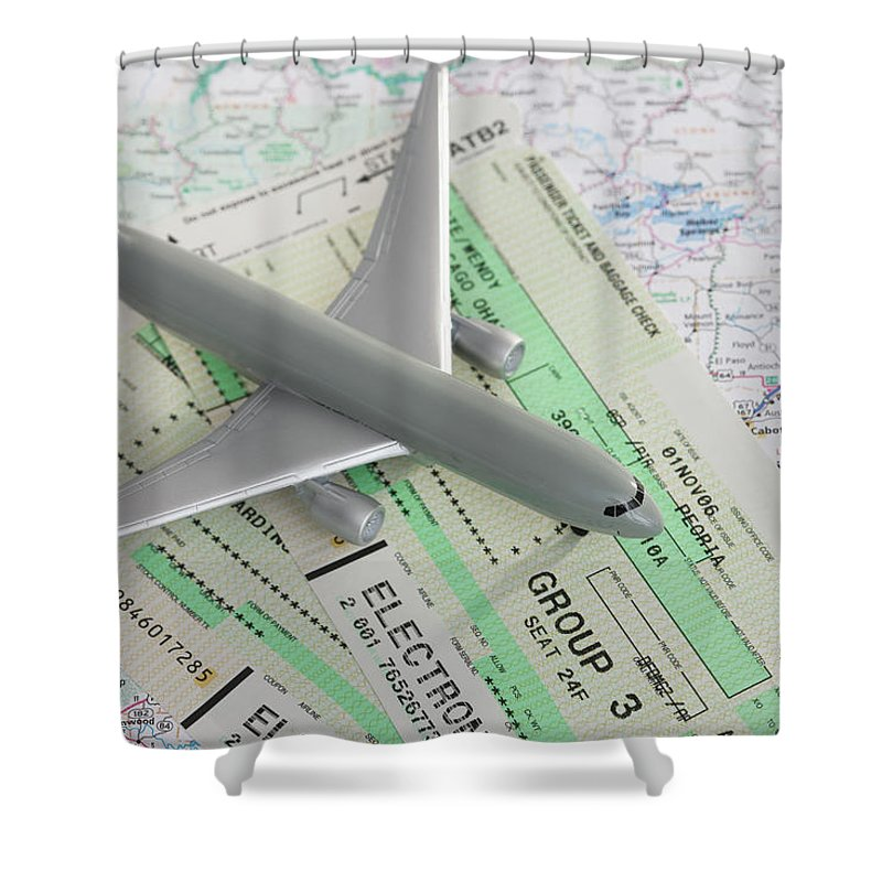 Airplane Shower Curtain featuring the photograph Studio Shot Of Toy Airplane With by Vstock Llc