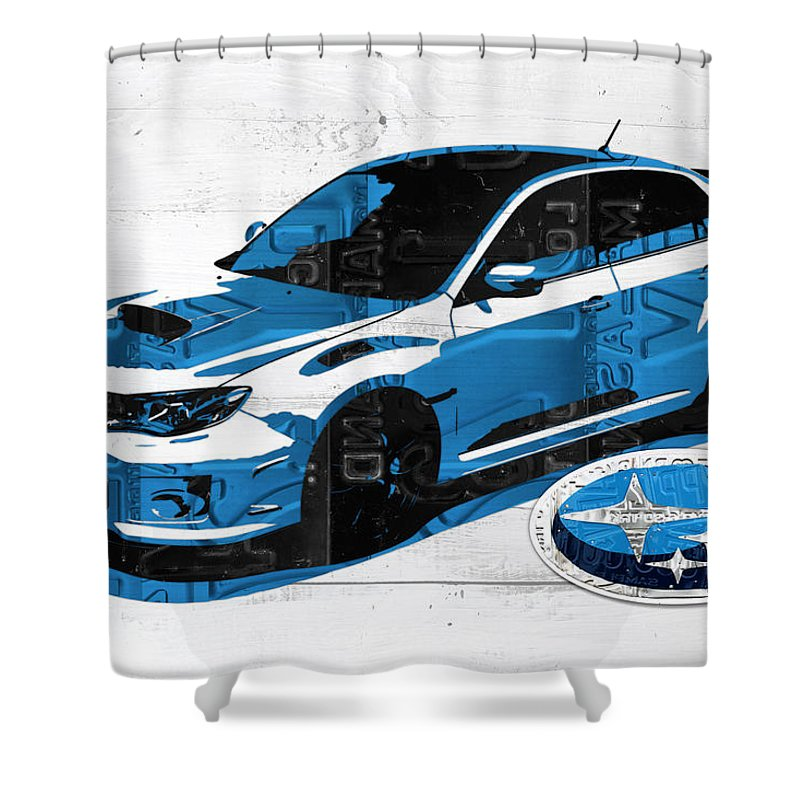Subaru Shower Curtain Featuring The Mixed Media Impreza Wrx Recycled License Plate Art On White