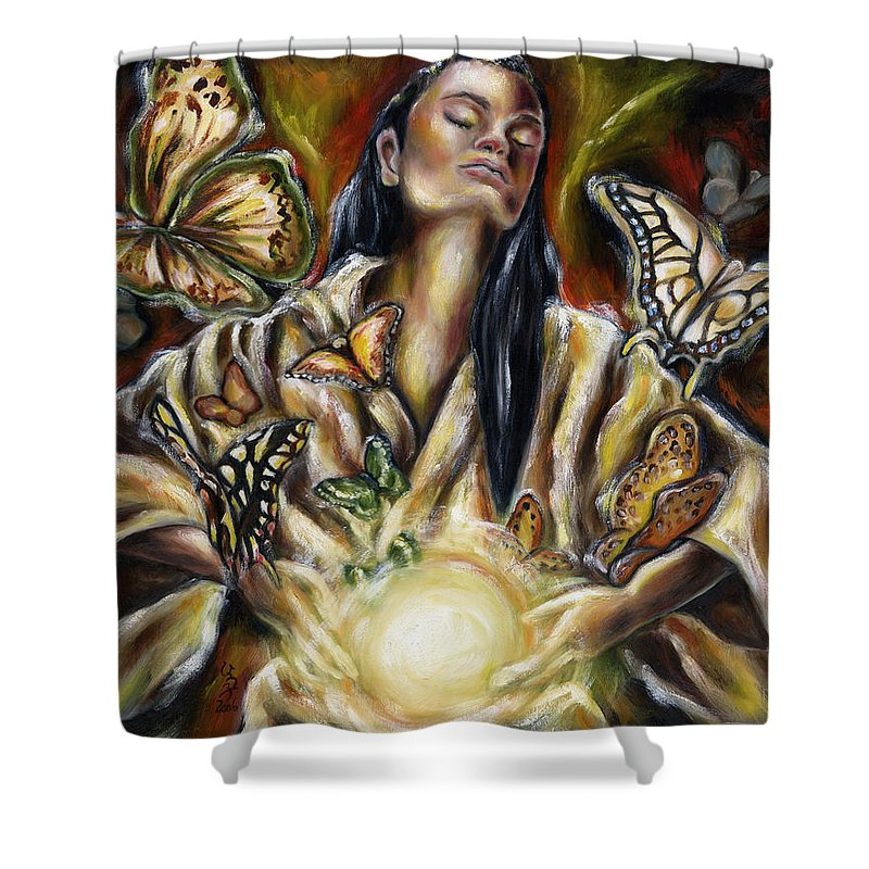 Asian Woman Shower Curtain featuring the painting Sublimation by Hiroko Sakai