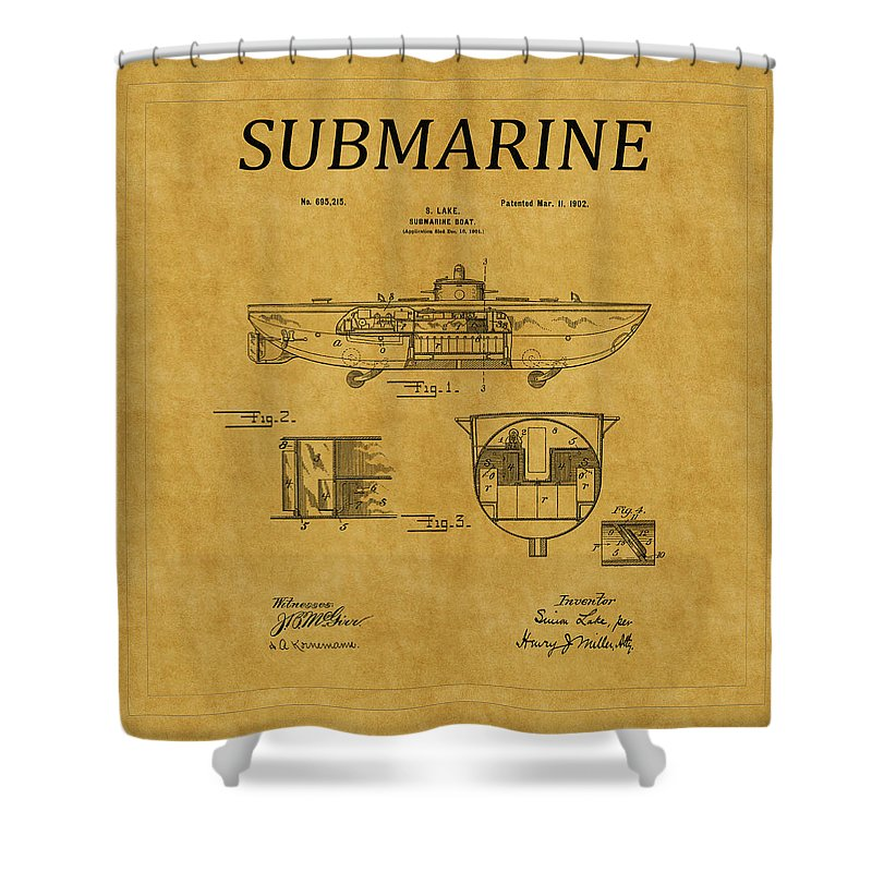 Sub Shower Curtain featuring the photograph Submarine Patent 5 by Andrew Fare