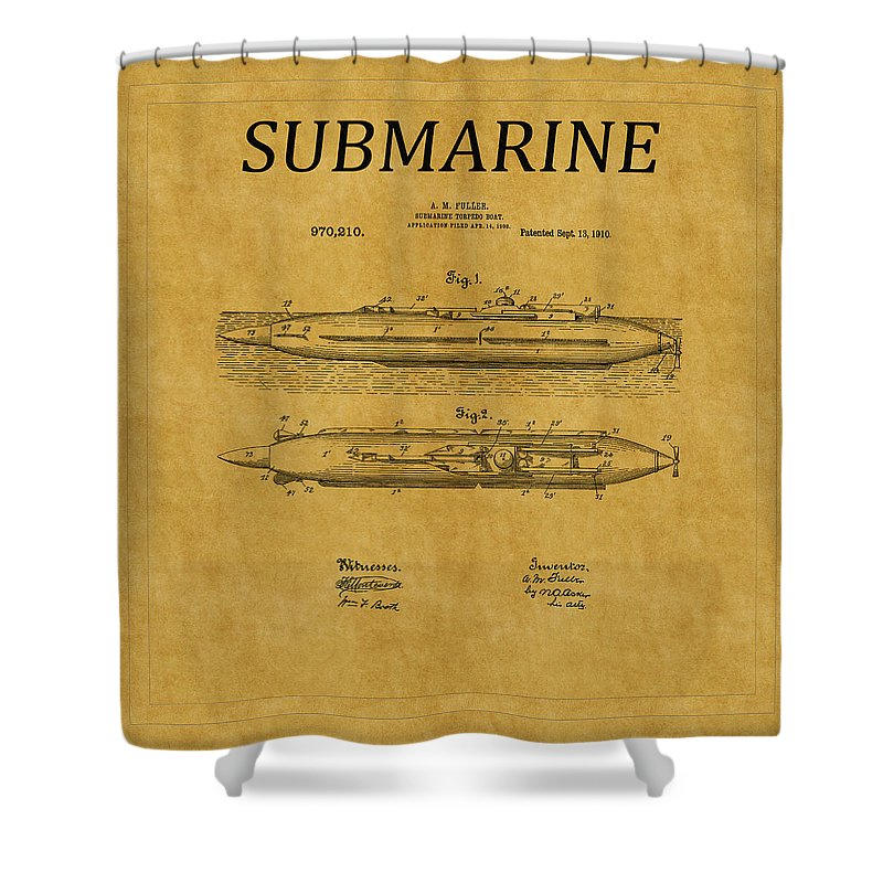 Sub Shower Curtain featuring the photograph Submarine Patent 7 by Andrew Fare