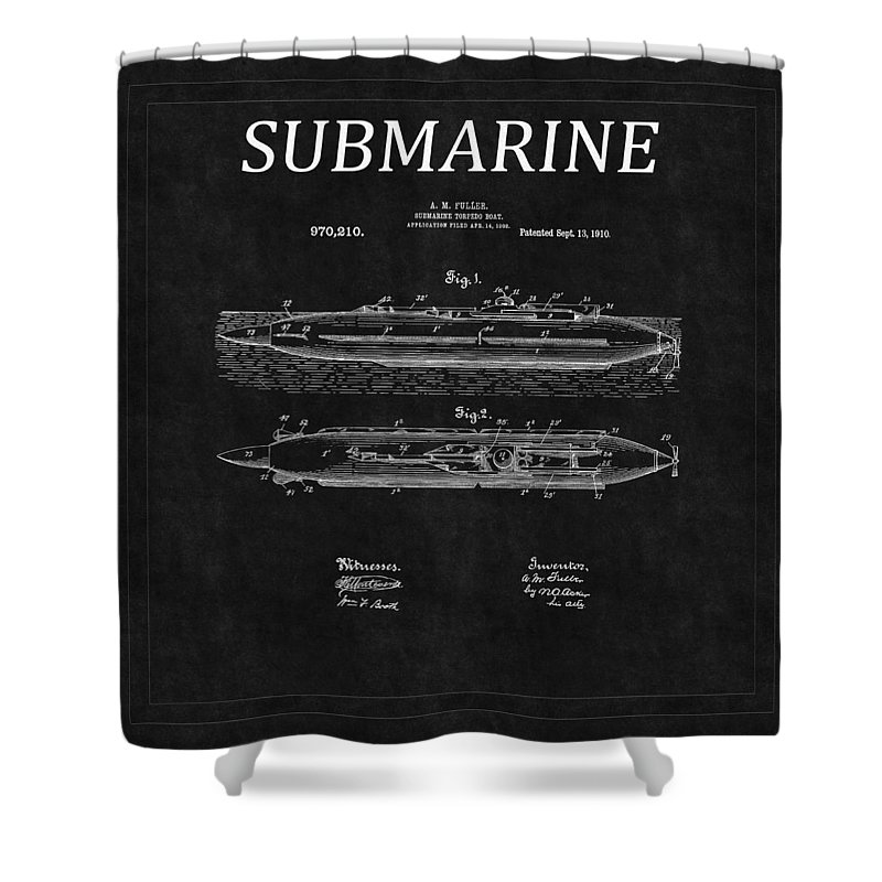 Sub Shower Curtain featuring the photograph Submarine Patent 8 by Andrew Fare