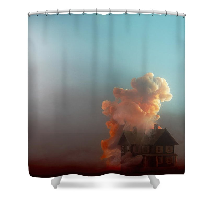 Model House Shower Curtain featuring the photograph Submerged House by Paul Taylor