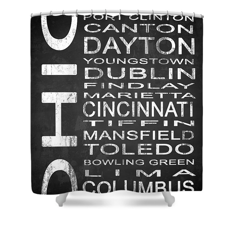 Subway Sign Shower Curtain featuring the digital art Subway Ohio State 1 by Melissa Smith