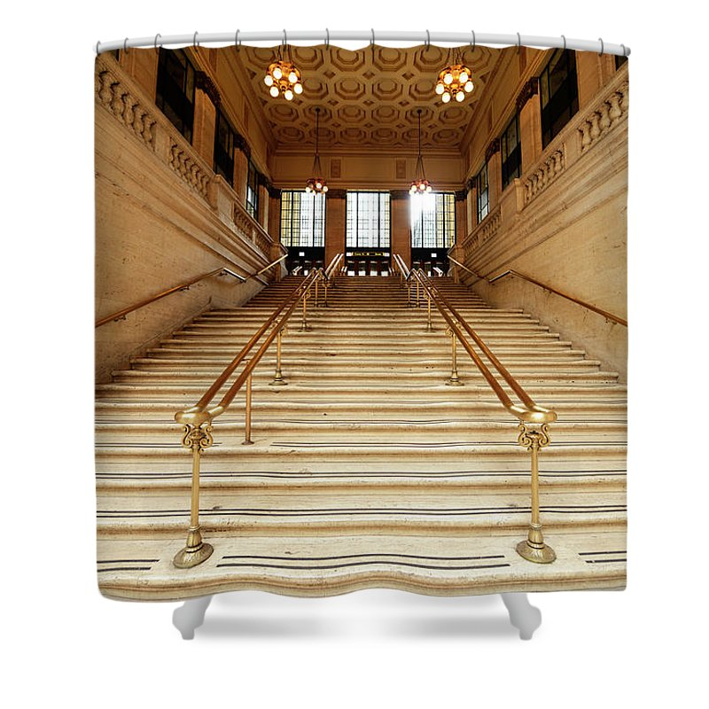 Steps Shower Curtain featuring the photograph Subway Station Staircase,chicago by Lisa-blue