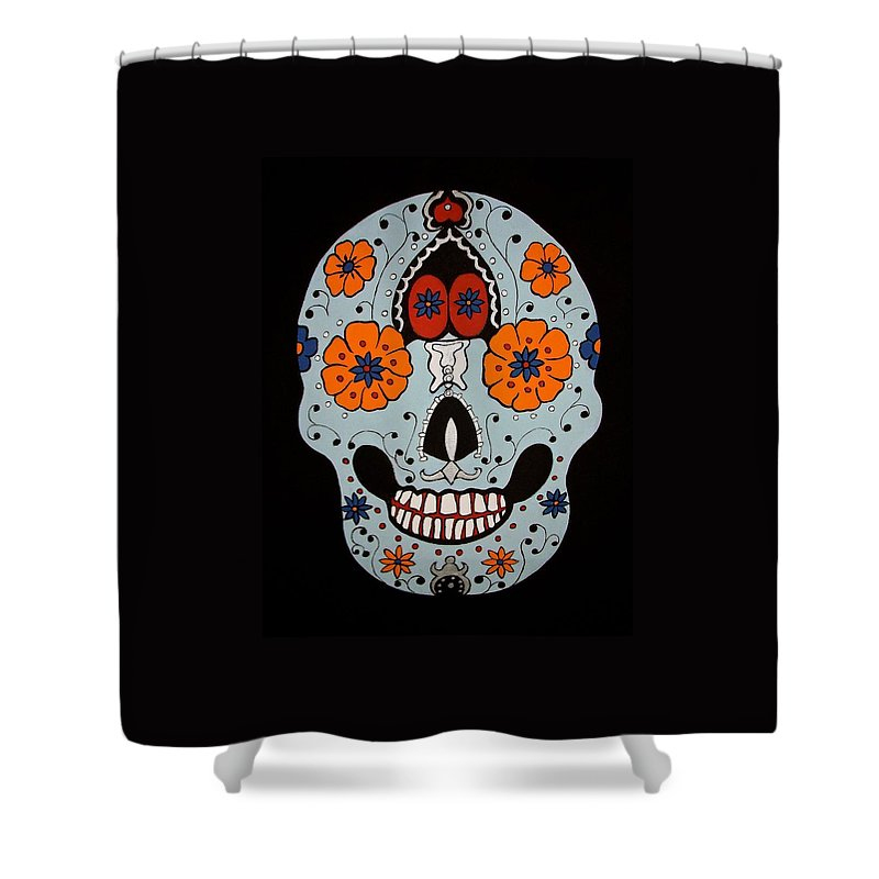 Skull Shower Curtain featuring the painting Sugar Skull by Stephanie Moore