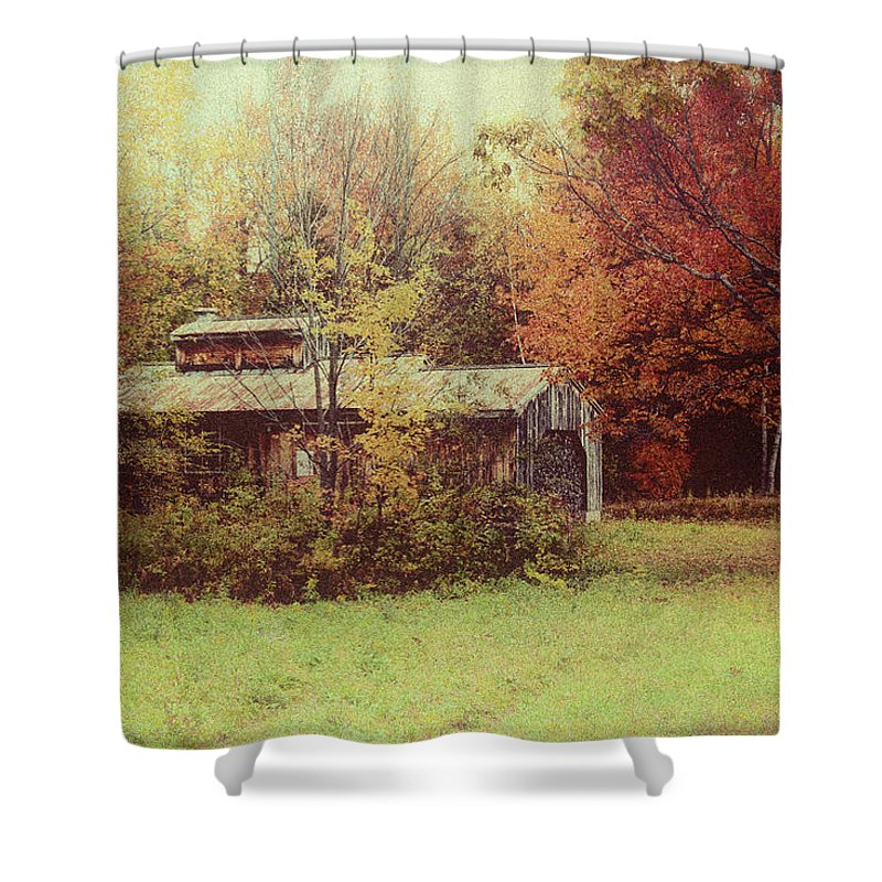Autumn Foliage Shower Curtain featuring the photograph Sugarhouse In Autumn by Jeff Folger