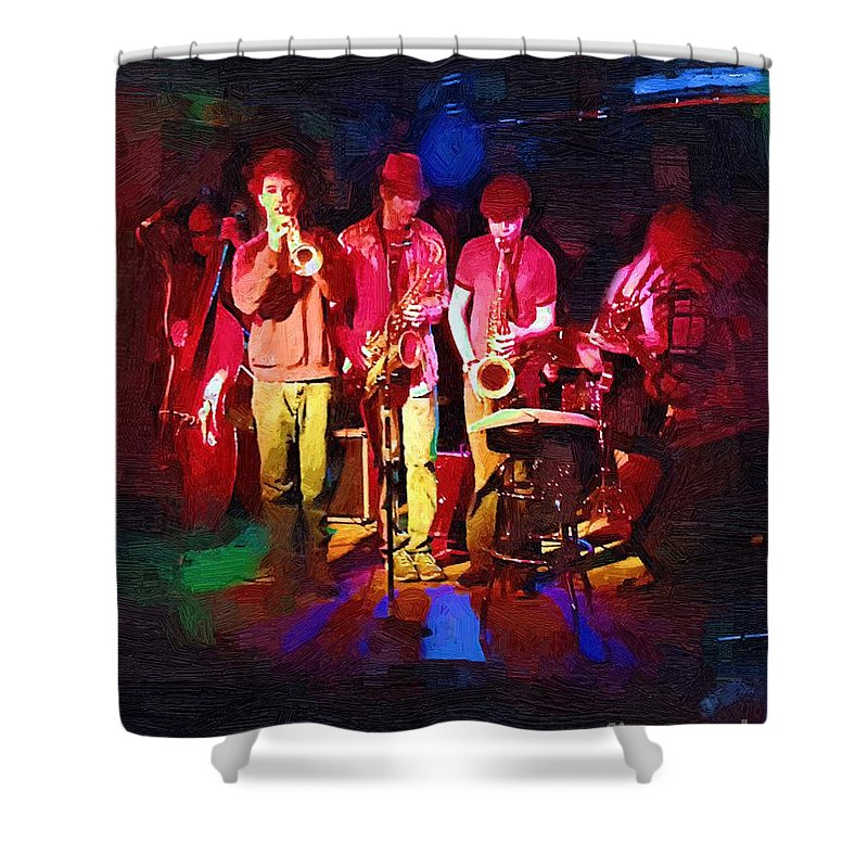 Band Shower Curtain featuring the painting Sultans Of Swing by RC DeWinter