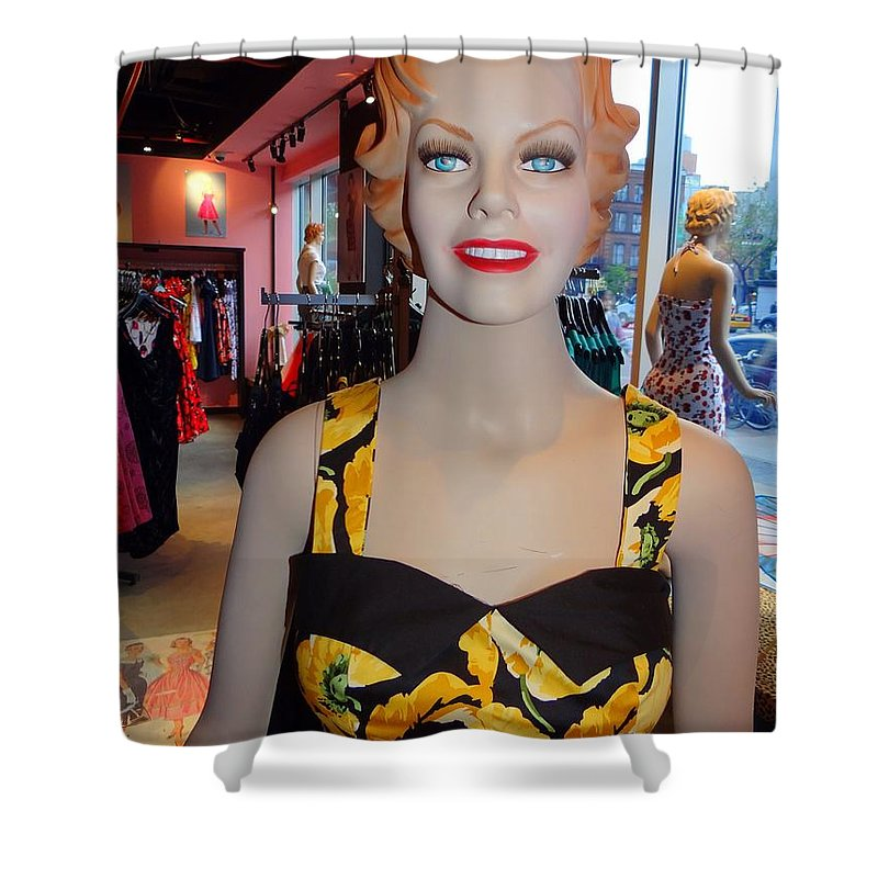 Mannequins Shower Curtain featuring the photograph Sultry In Sunflowers by Ed Weidman