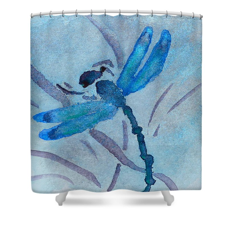 Dragonfly Shower Curtain Featuring The Painting Sumi By Beverley Harper Tinsley