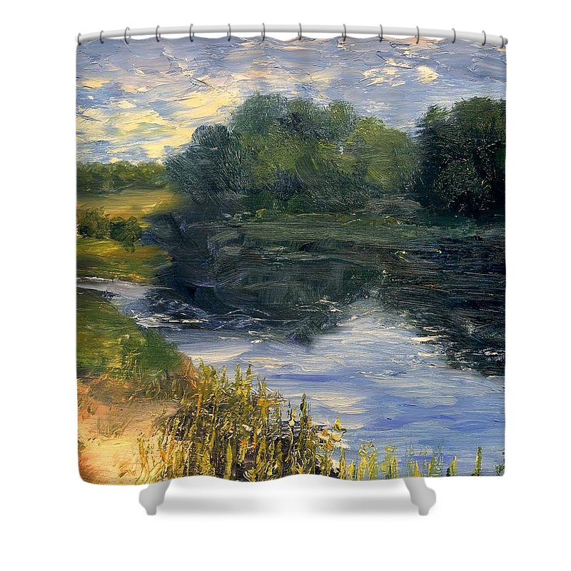 Landscape Shower Curtain featuring the painting Summer At Jackson Lake by Gail Kirtz
