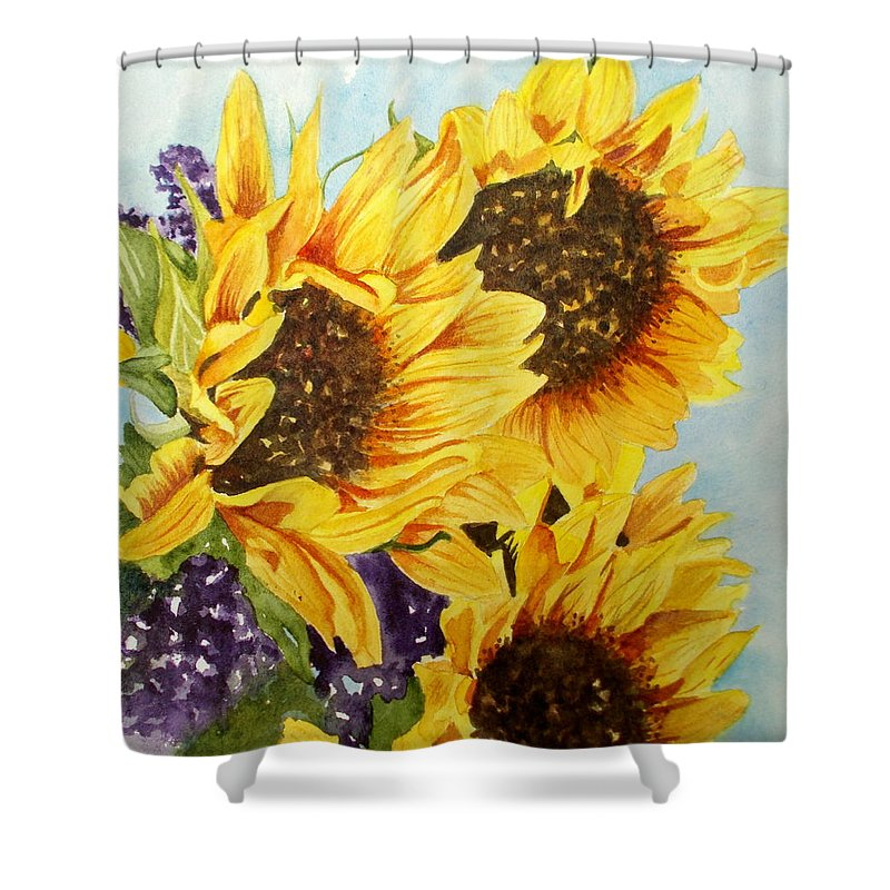 Still Life Shower Curtain featuring the painting Summer Bouquet by Nicole Curreri
