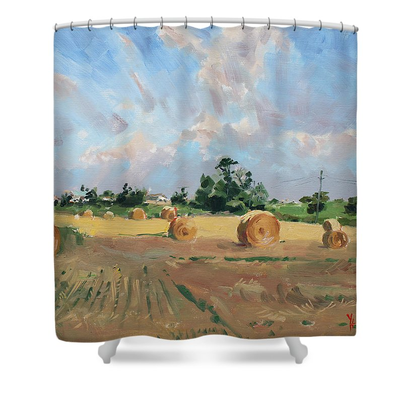 Summer Shower Curtain featuring the painting Summer Fields In Georgetown On by Ylli Haruni