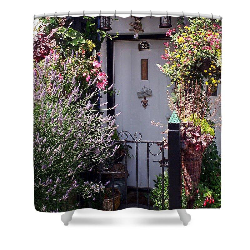 Clovelly Shower Curtain featuring the photograph Summer Flowers Clovelly Devon by Rodger Insh