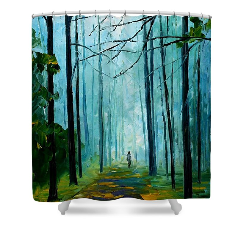 Oil Paintings Shower Curtain featuring the painting Summer Forest - Palette Knife Oil Painting On Canvas By Leonid Afremov by Leonid Afremov