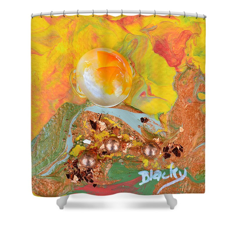 Modern Shower Curtain featuring the painting Summer Glow by Donna Blackhall