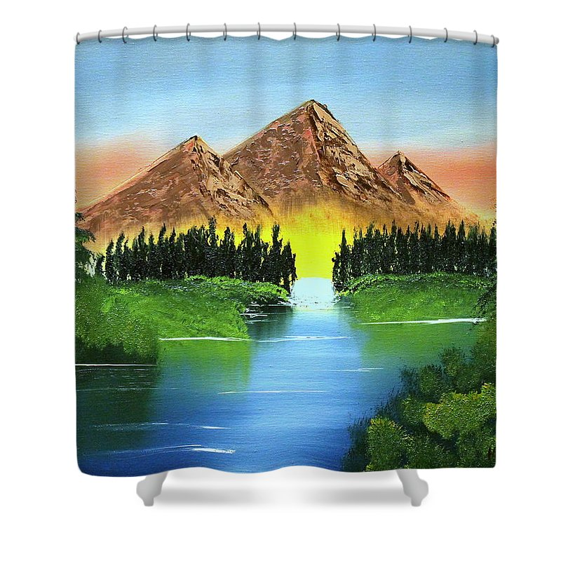 Landscape Shower Curtain featuring the painting Summer Lake Sunrise by Ryan Heath
