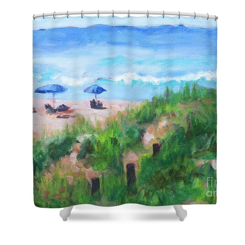 Beach Shower Curtain featuring the painting Summer On The Beach by Jan Bennicoff