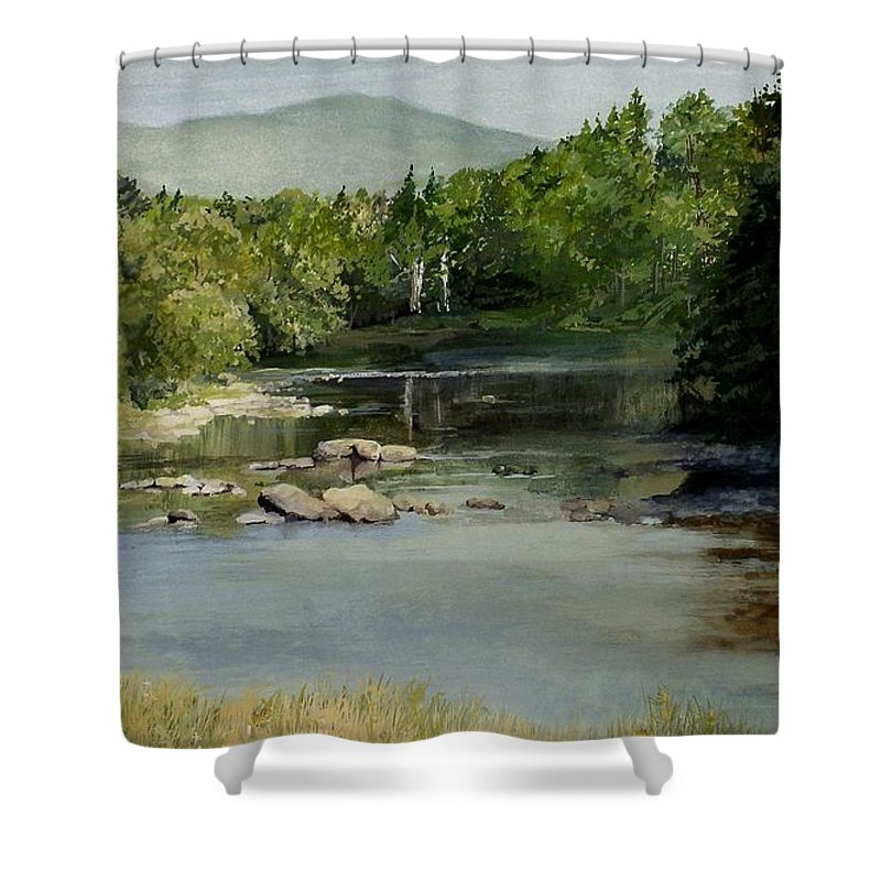 Vermont Shower Curtain featuring the painting Summer On The River In Vermont by Laurie Rohner