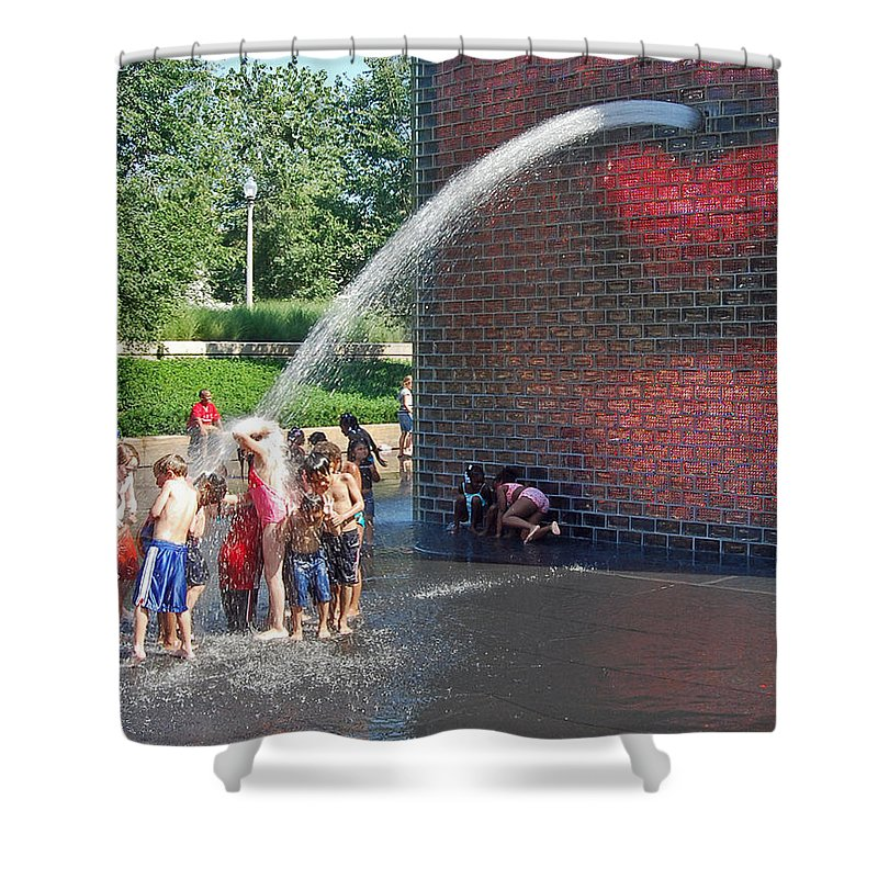 Chicago Millenium Park Shower Curtain featuring the photograph Summer Shower by Rick Selin