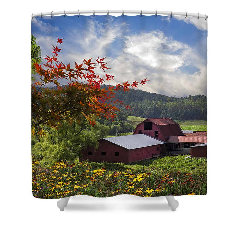 Appalachia Shower Curtain featuring the photograph Summer Skies by Debra and Dave Vanderlaan
