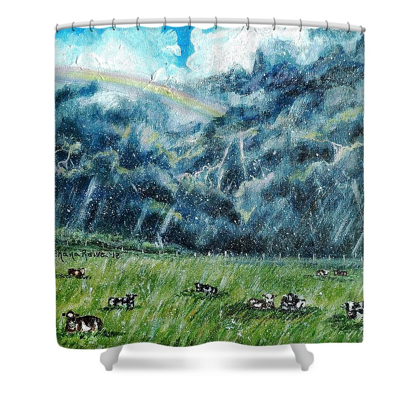 Storm Shower Curtain featuring the painting Summer Storm by Shana Rowe Jackson