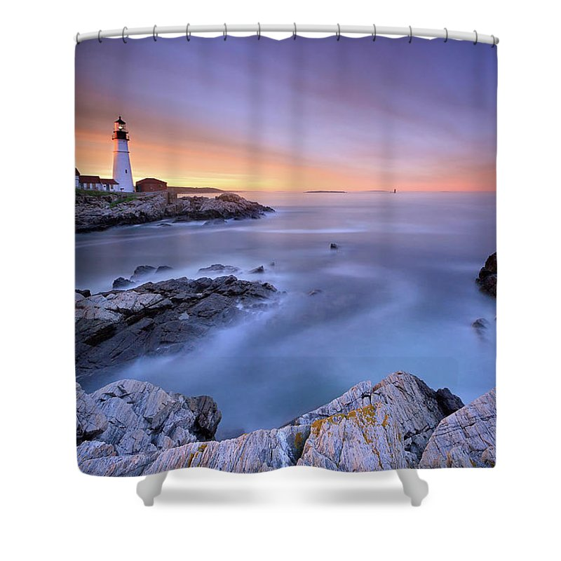 Tranquility Shower Curtain featuring the photograph Summer Sunset At The Portland Head Light by Katherine Gendreau Photography