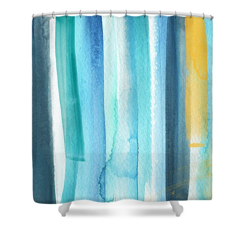 Water Shower Curtain featuring the painting Summer Surf- Abstract Painting by Linda Woods