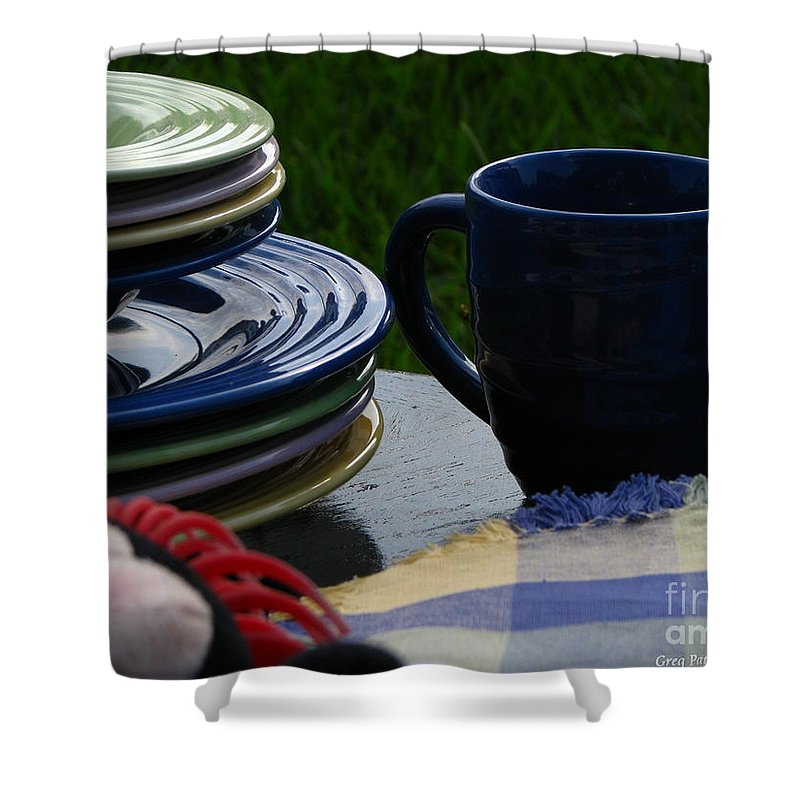 Art For The Wall Shower Curtain featuring the photograph Summer Table by Greg Patzer