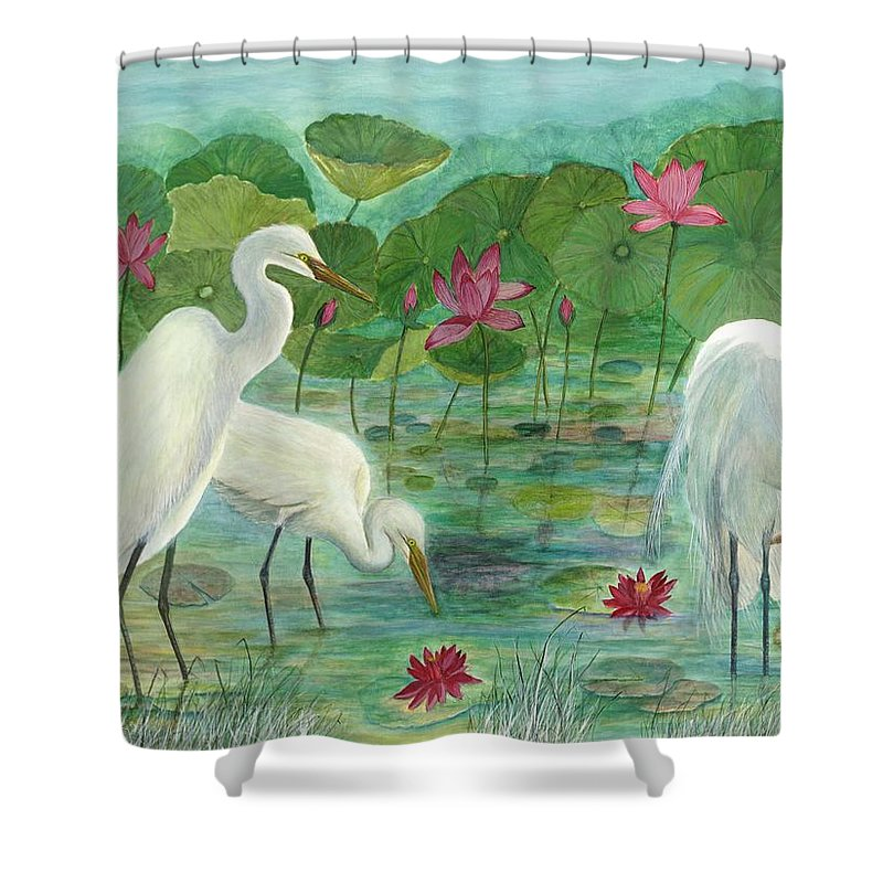 Lily Pads; Egrets; Low Country Shower Curtain featuring the painting Summer Trilogy by Ben Kiger