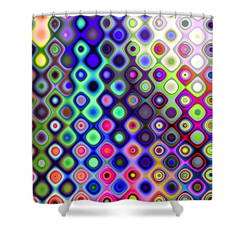 Abstract Shower Curtain featuring the digital art Summer's Colourful Nights by Hakon Soreide