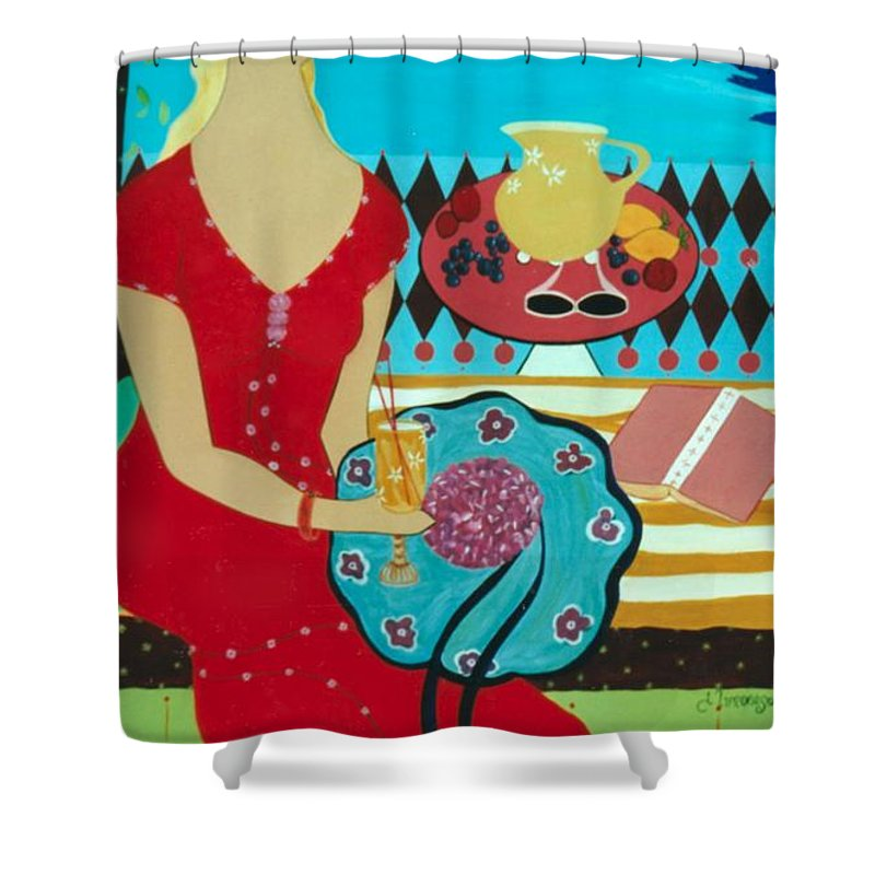 #female Shower Curtain featuring the painting Summers Day by Jacquelinemari