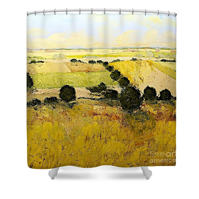 Landscape Shower Curtain featuring the painting Summers End by Allan P Friedlander