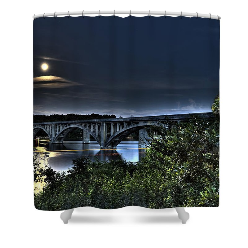 Lake Shower Curtain featuring the photograph Summer's Full Moon by Jackie Frick Smith