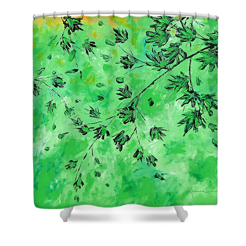 Green Leaves Shower Curtain featuring the painting Summertime 5 by Kume Bryant