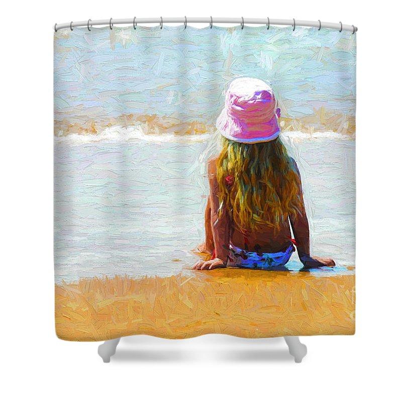Little Girl On Beach Shower Curtain featuring the photograph Summertime by Sheila Smart Fine Art Photography