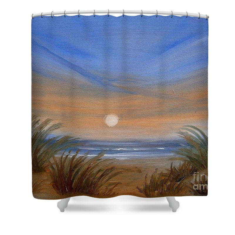 Seascape Shower Curtain featuring the painting Sun And Sand by Holly Martinson