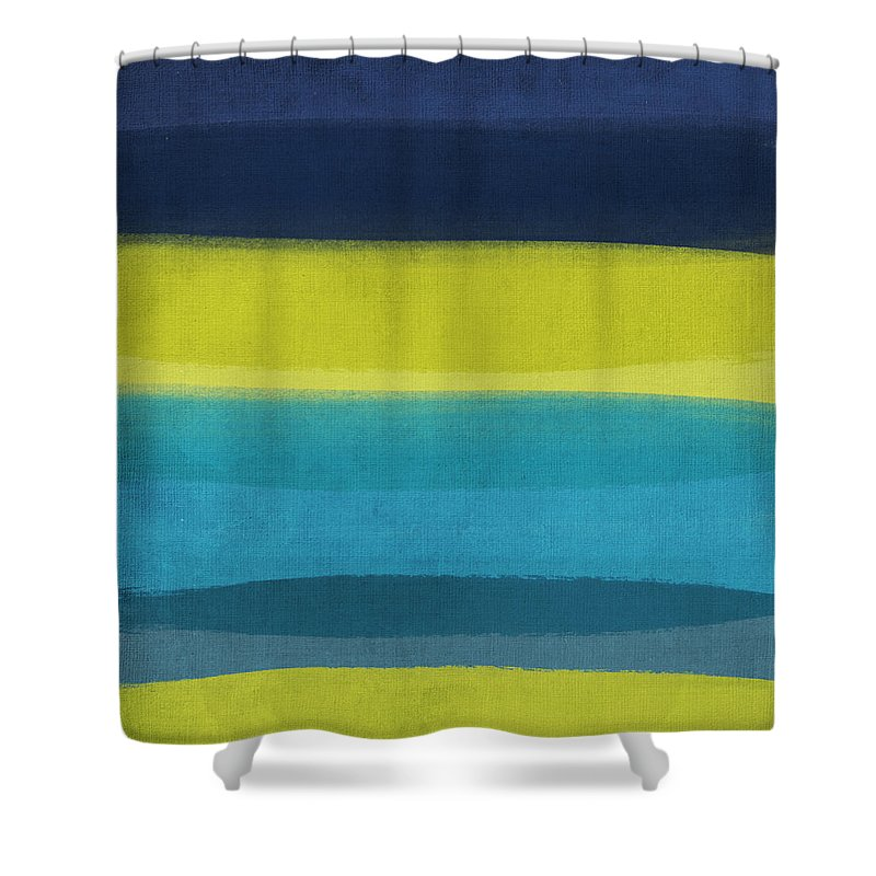 Abstract Shower Curtain featuring the painting Sun and Surf by Linda Woods