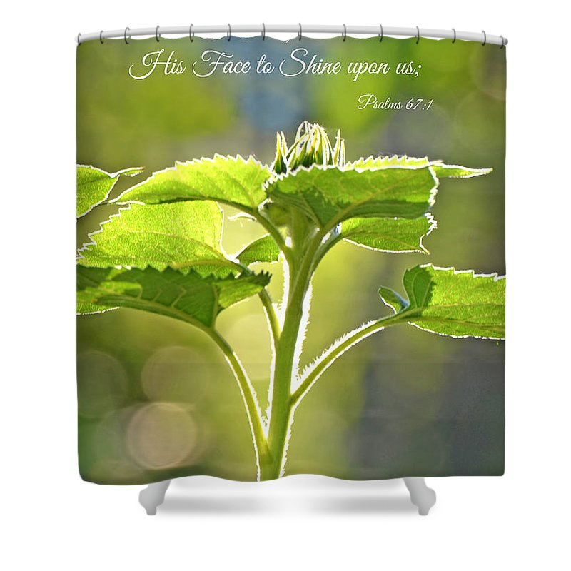 Wall Art Shower Curtain featuring the photograph Sun Drenched Sunflower With Bible Verse by Debbie Portwood