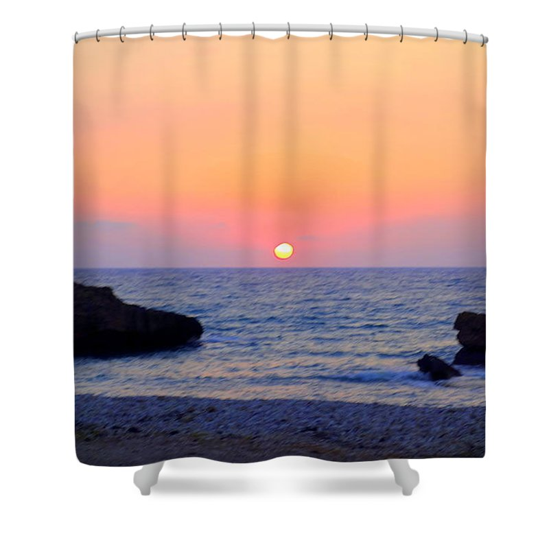 Sun Shower Curtain featuring the photograph When Everyone Thinks That You Are Stupid, The Sun Goes Down Anyway by Hilde Widerberg
