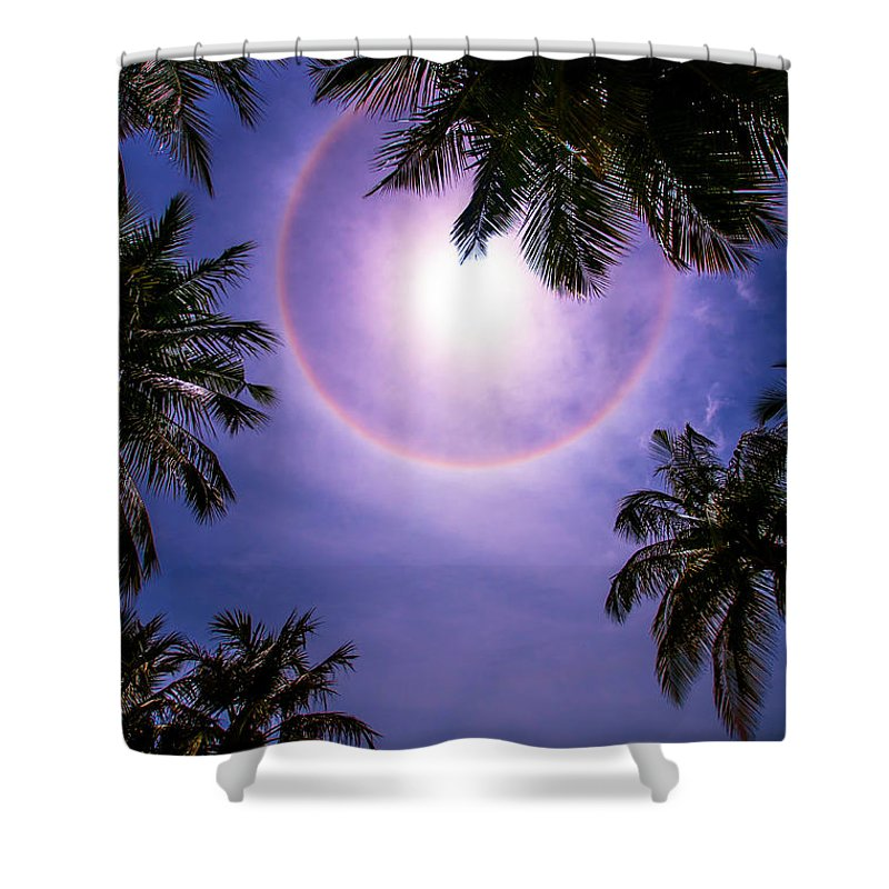 Sun Halo Shower Curtain Featuring The Photograph Maldives By Jenny Rainbow